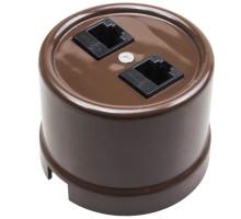 Компьютерная розетка двойная коричневая B1-302-22 BIRONI
